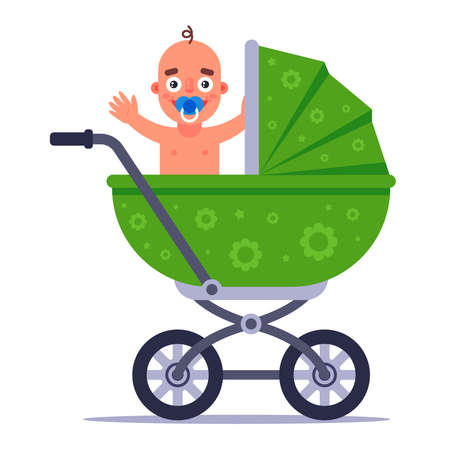 a little joyful child is sitting in a green baby carriage. flat vector illustration.