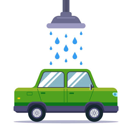 wash a dirty car in a car wash. flat vector illustration isolated on white background. Иллюстрация