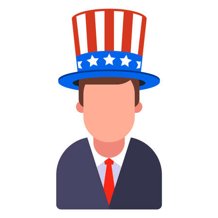 man in American hat with stripes and stars. flat vector illustration isolated on white background.