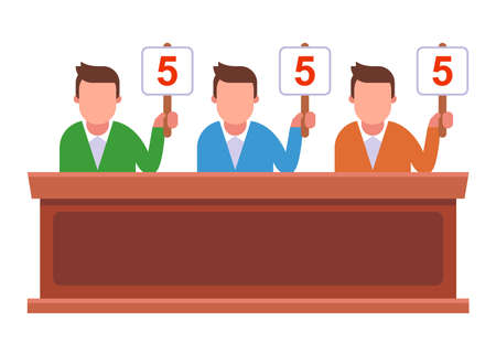 competition where the jury raises the signs and gives marks. flat vector illustration. Иллюстрация