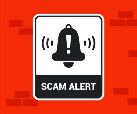 sticker on a brick wall fraud warning. flat vector illustration.