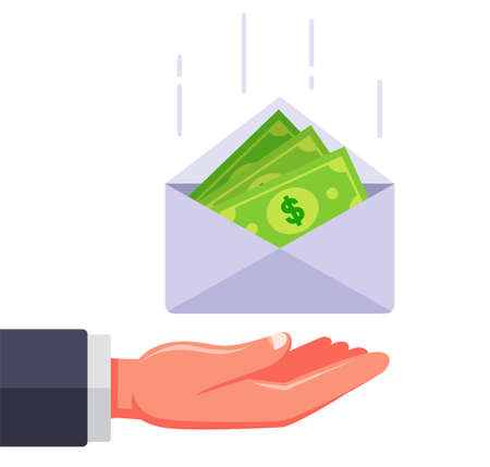 an envelope with money falls into the hand. receive a salary in an envelope. give a bribe to an official. flat vector illustration.