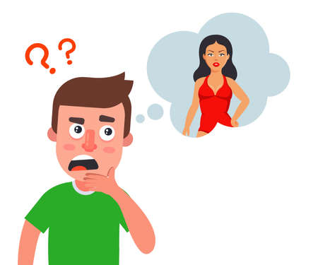 a man thinks about a beautiful girl and doubts. flat vector illustration.