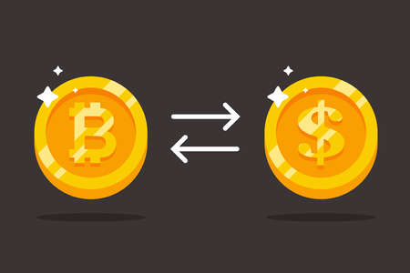 exchange bitcoin for dollars. precious gold coins. flat vector illustration.