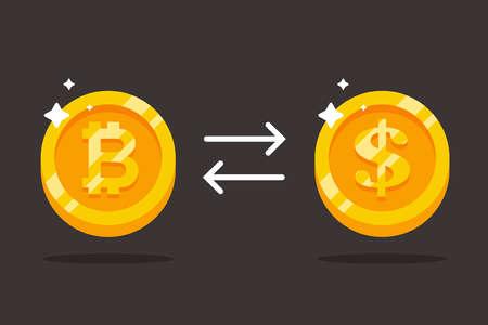 exchange bitcoin for dollars. precious gold coins. flat vector illustration. 版權商用圖片 - 167420716