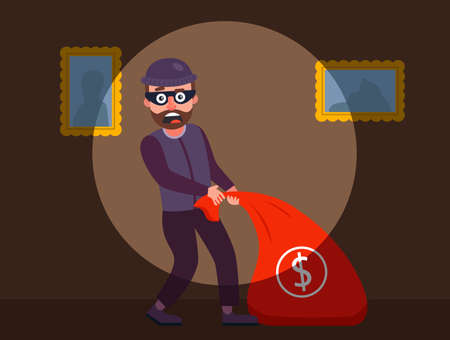 the robber was caught red-handed. the guards detained the burglar of the apartment. robbery of a private house at night. flat vector character illustration. Иллюстрация