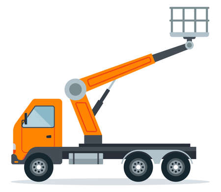 crane hoist on a truck for work at height. special construction high-rise equipment. flat vector illustration isolated on white background.