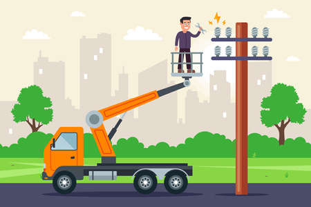 a specialist makes repairs to high-voltage wires in a truck with a lift. repair of a pole with electricity. flat vector illustration.