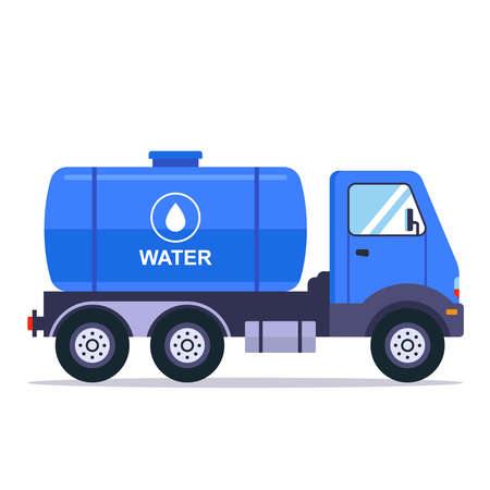blue truck with a tank for transporting water. flat vector illustration isolated on white background. Vector Illustration