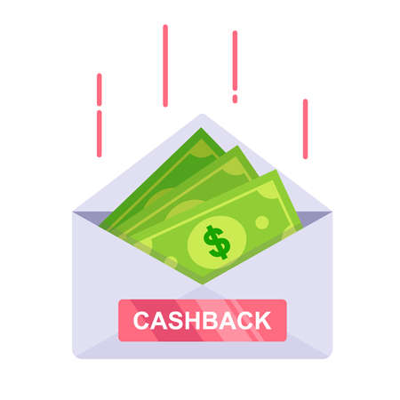 envelope with green money. cashback from the bank. flat vector illustration isolated on white background. Иллюстрация