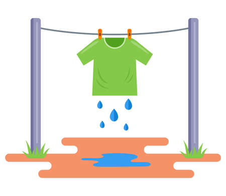the washed T-shirt is dried in the open air. hang wet clothes on a rope. flat vector illustration isolated on white background. Иллюстрация