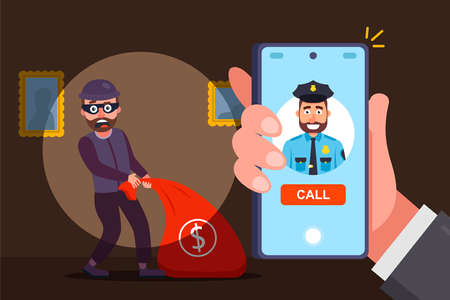 catch an apartment robber by surprise. call the police and report the crime. flat vector illustration.