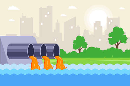 urban wastewater is discharged through pipes into the river. contamination of water from factories. flat vector illustration.
