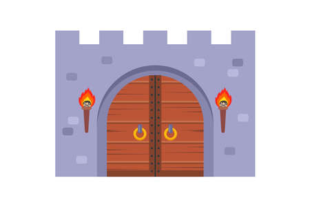 old wooden castle gate on a white background. flat vector illustration. Иллюстрация
