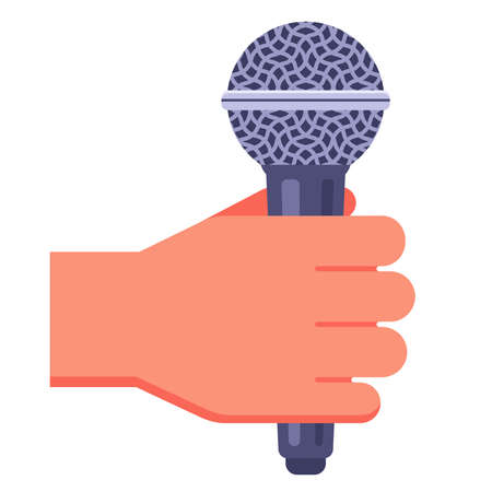 man holds a microphone in his hand to record sound. flat vector illustration.