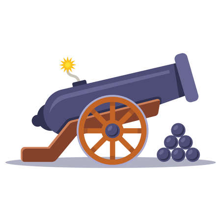 old military cannon with a lit wick. flat vector illustration. Illustration