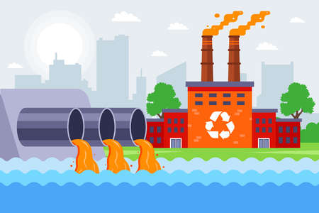 an industrial plant pollutes the environment. pour poisonous waste into the river. flat vector illustration. Иллюстрация