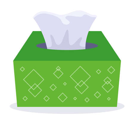 paper towels in a green cardboard box. flat vector illustration isolated on white background.