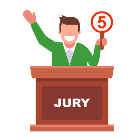 joyful person in the jury raises the rating plate 5. flat vector character illustration.