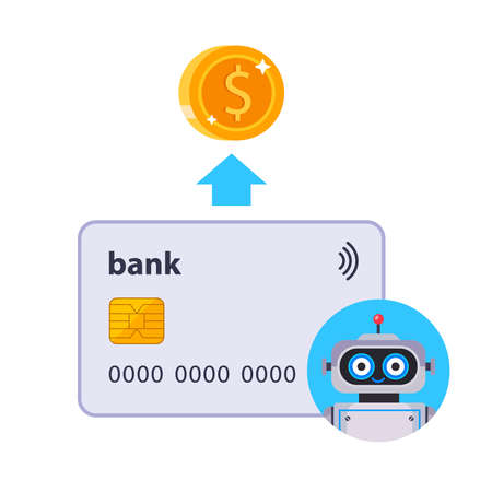 automatic debiting of funds from a bank card. the robot debits funds from the bank account. flat vector illustration. Иллюстрация