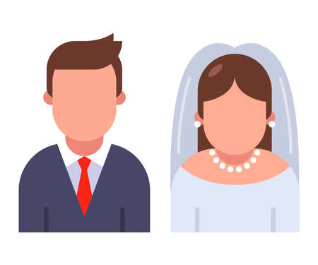 bride and groom character icon isolated on white background. flat vector illustration.