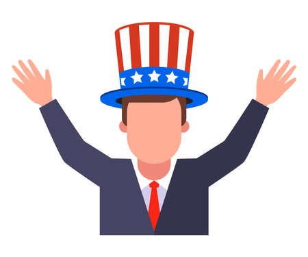 joyful American in a hat with his hands up. flat vector illustration isolated on white background. Иллюстрация