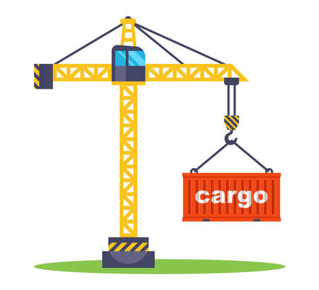 construction crane lifts a red container with goods. loading a container for transportation. flat vector illustration. Иллюстрация