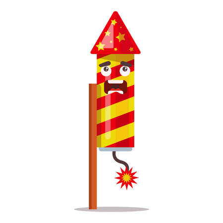 launching fireworks into the sky. set fire to the fuse of the pyrotechnics. flat vector illustration.