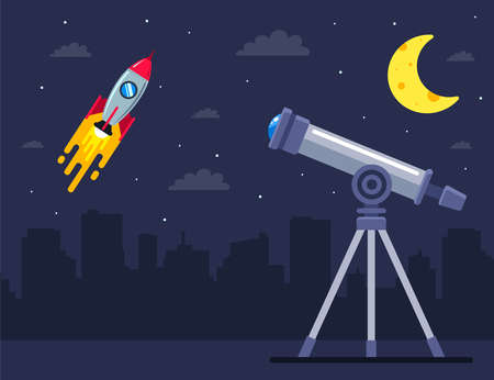 observe the launch of the spaceship with the help of a telescope. flat vector illustration. Иллюстрация