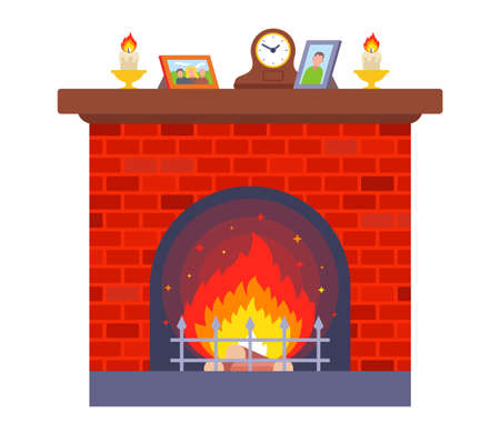 cozy red brick fireplace. home for heating the room. flat vector illustration.