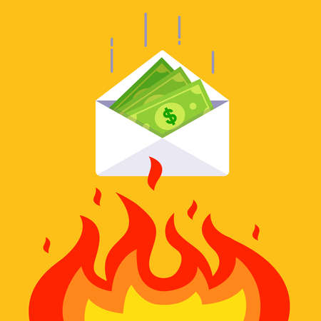money in an envelope falls into the fire. devaluation of accumulated funds. flat vector illustration.