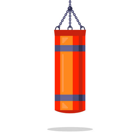 a red punching bag suspended from a chain. flat vector illustration isolated on white background.