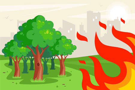 looming flame on trees in the forest. spread of fire due to drought in summer. flat vector illustration.