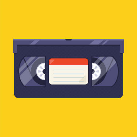 old videotape from the 90s on a yellow background. flat vector illustration. Иллюстрация