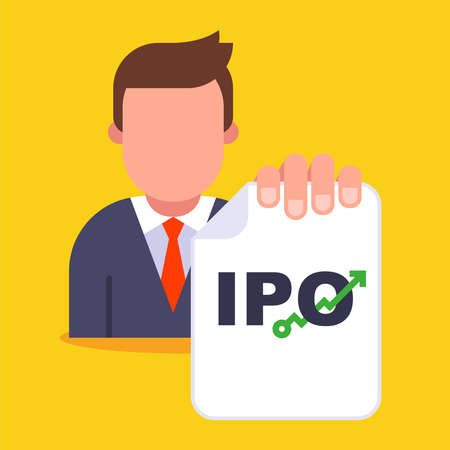 initial placement of securities on the investment market. flat vector illustration