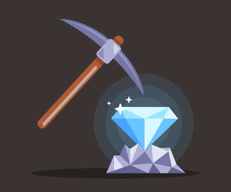 search for diamonds in the mine with a pickaxe. extraction of jewelry. flat vector illustration.