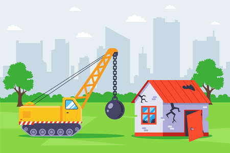 demolish the old building with special equipment. flat vector illustration.