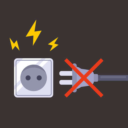 short circuit in the electrical outlet. do not plug electrical appliances into the socket. flat vector illustration.