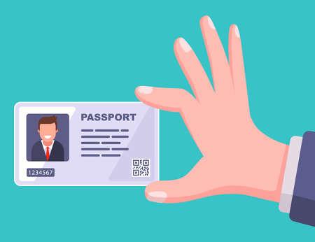 modern passport plastic card. flat vector illustration.