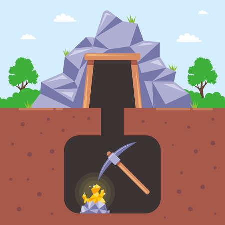 mining gold in a mine underground. flat vector illustration. Иллюстрация