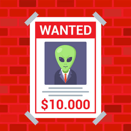 a poster on the wall about the search for an alien. flat vector illustration.