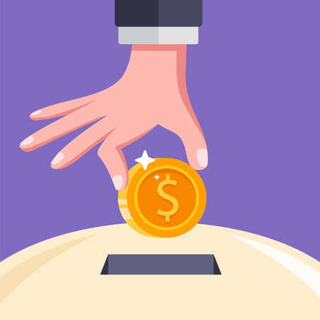 put a coin in the slot. save money in a piggy bank. flat vector illustration. Иллюстрация