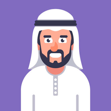 smiling Arab in traditional dress. flat vector character illustration.