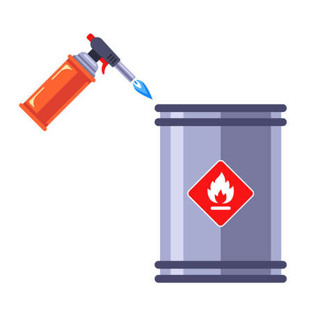 welding with a blowtorch of a flammable barrel. flat vector illustration.