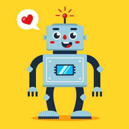 cute robot with heart. loving android. flat vector illustration