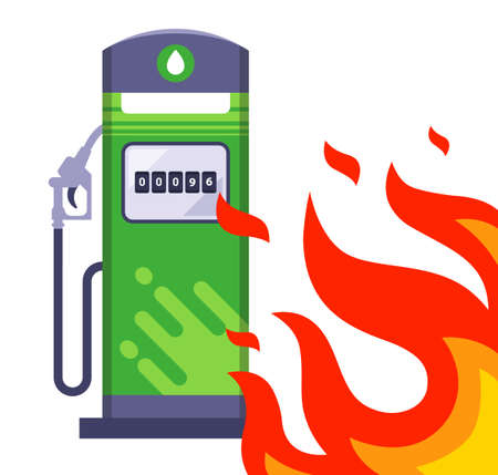 big fire next to the gas station. through the sound situation next to the gas station. flat vector illustration. Иллюстрация