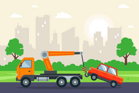tow truck towing a car in the city. flat vector illustration. Иллюстрация
