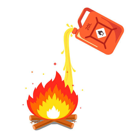 pouring gasoline into the fire. flat vector illustration.
