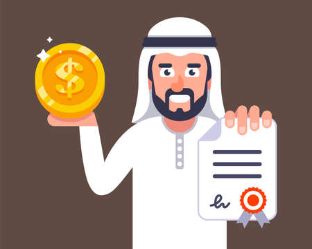 Arab businessman offers to conclude a contract. job invitation to dubai. flat vector character illustration.