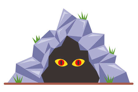 scary eyes in a dark cave. flat vector illustration isolated on white background. 向量圖像